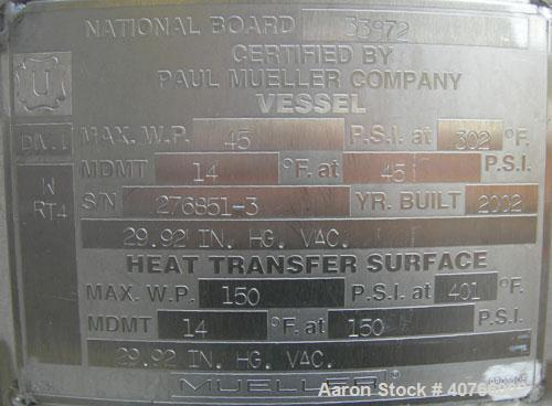 """Used-  Mueller Reactor, Model F, 26.4 gallons, 316L stainless steel, vertical.  22"""" diameter x approximately 17"""" straight si..."""