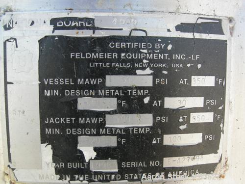 """Used- Feldmeier Reactor/Deaerator, Model VPC, 250 Gallons, 316L Stainless Steel, Vertical. 48"""" Diameter x 30"""" straight side...."""