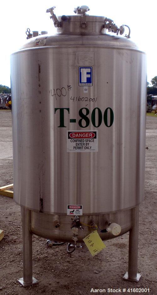 "Used- Feldmeier Reactor, 396 Gallons (1500 liters), 316L stainless steel, vertical. 46"" diameter x 62"" straight side, dished..."