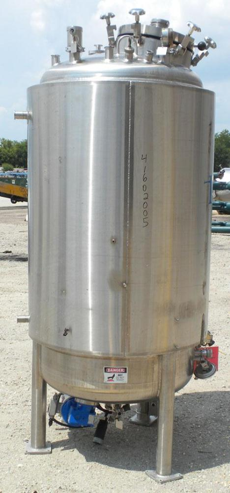 "Used- Feldmeier Reactor, 264 Gallons (1000 liters), 316L Stainless Steel, Vertical. 36"" diameter x 60"" straight side, dished..."
