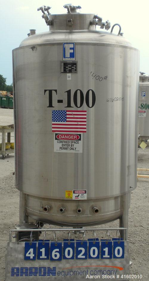 "Used- Feldmeier Reactor, 396 Gallons (1500 liters), 316L stainless steel, vertical. 46"" diameter x 62"" straight side, dished..."