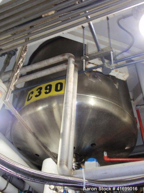 """Used- Feldmeier Reactor, 500 Gallon, 316 stainless steel, vertical. 60"""" diameter x 72"""" straight side, dished top and bottom...."""
