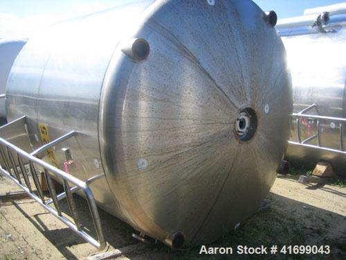 "Used- Feldmeier Reactor, 2000 Gallon, 316L stainless steel, vertical. 98"" diameter x 92"" straight side, dished top and botto..."