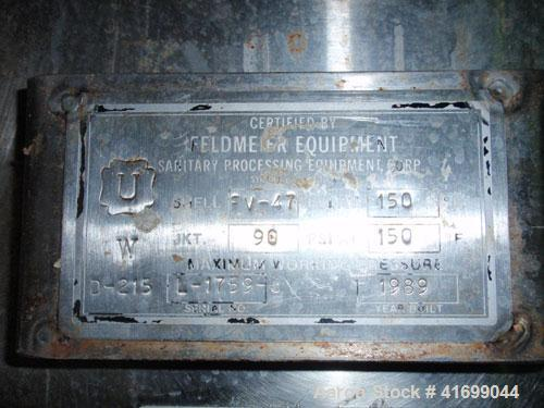 """Used- Feldmeier Reactor, 2000 Gallon, 316L stainless steel, vertical. 98"""" diameter x 92"""" straight side, dished top and botto..."""