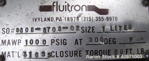 """Used- Fluitron 1 Liter Reactor, 316 Stainless Steel.  4"""" diameter x 6"""" straight side.  Vessel rated 1000 psi @ 300 degrees F..."""