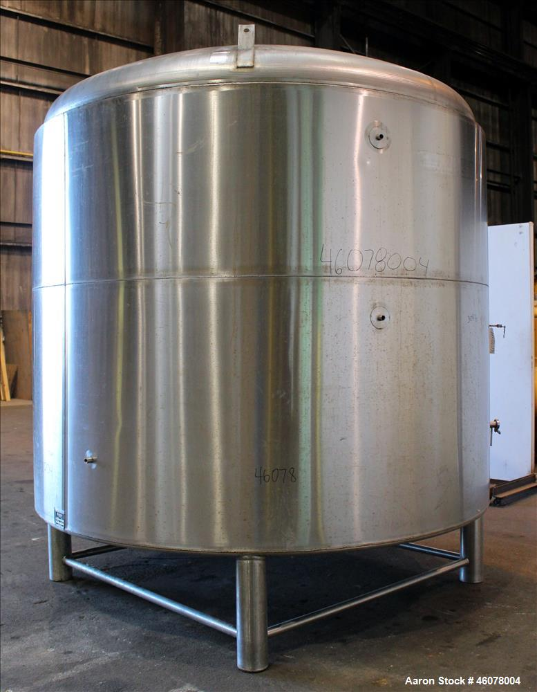 Used- Accent Stainless Steel Reactor, Model FV-100H, Design Capacity 2,642 Gallon, 304 Stainless Steel, Vertical. Flooded ca...