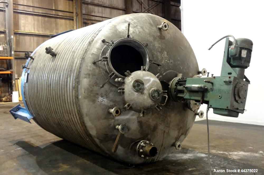 """Used- Imperial Steel Reactor, 4000 Gallon, 316L Stainless Steel, Vertical. 107-1/4"""" Diameter x 105"""" straight side, dished to..."""