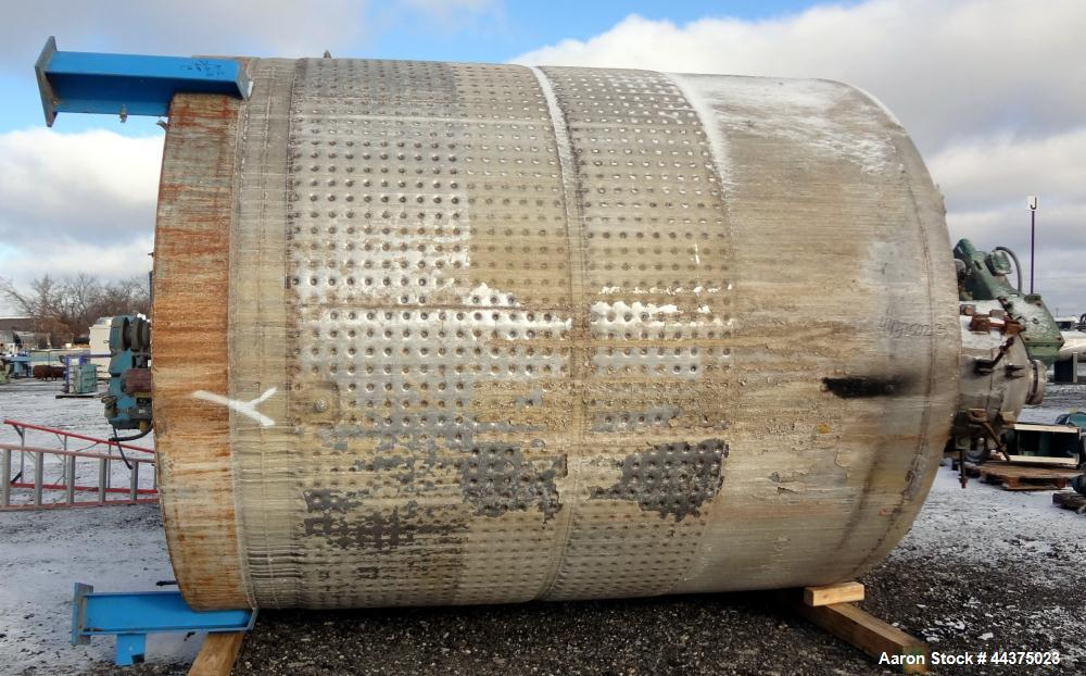 "Used- Imperial Steel Reactor, 6300 Gallon, 316L Stainless Steel, Vertical. Approximate 119.25"" diameter x 120"" straight side..."