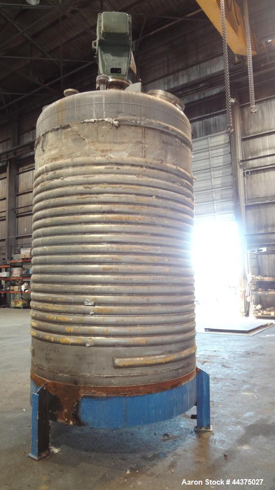 "Used- Imperial Steel Reactor, 2000 Gallon, 316 Stainless Steel, Vertical. Approximate 77.625"" diameter x 108"" straight side,..."