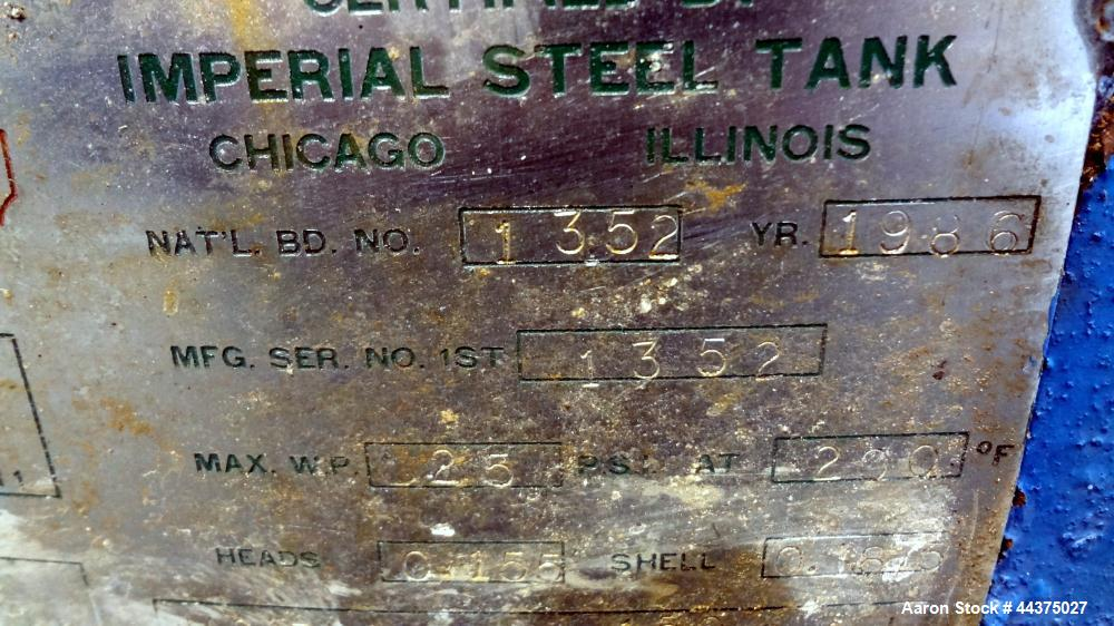 """Used- Imperial Steel Reactor, 2000 Gallon, 316 Stainless Steel, Vertical. Approximate 77.625"""" diameter x 108"""" straight side,..."""