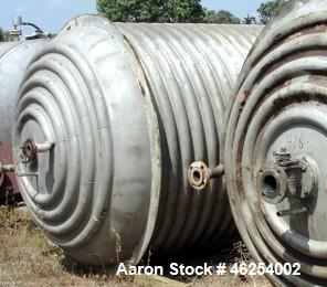 """Used- Industrial Alloy Fabricators Reactor, 2,326 Gallon, 304L Stainless Steel, Vertical. 72"""" Diameter x 120"""" straight side,..."""