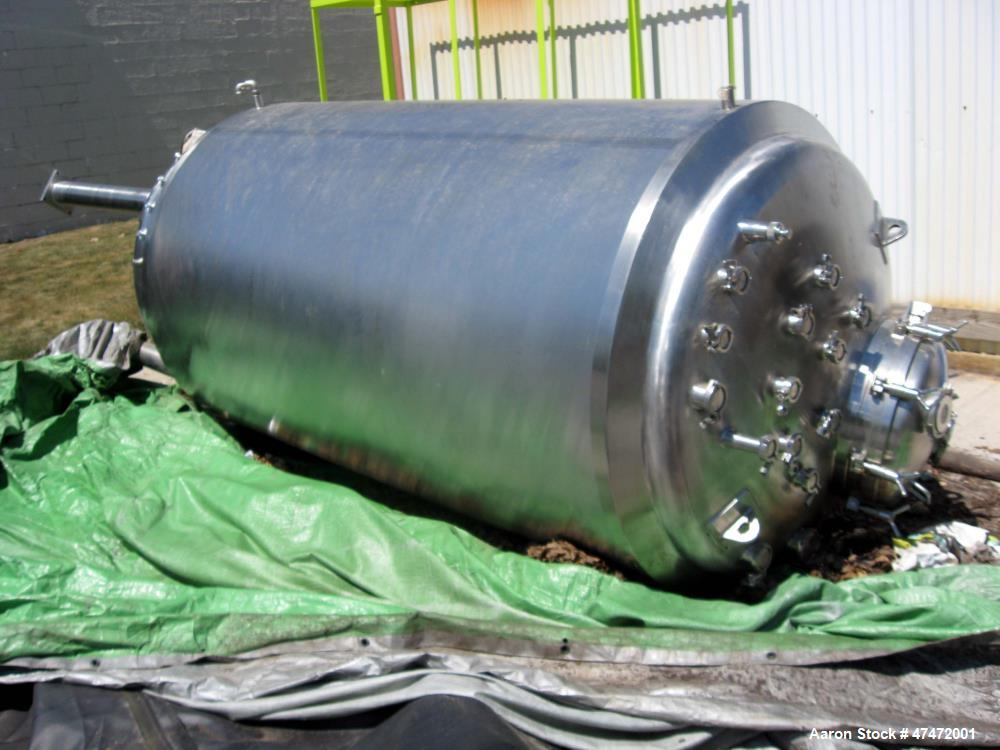 Used- Inox Industries Inc. Reactor, 750 Gallon, Stainless Steel. Internal rated 40 psi / FV at 350 deg F. Jacket rated 90 ps...