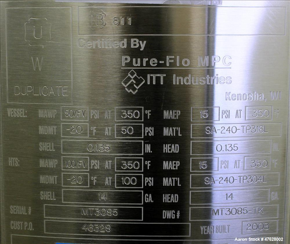 Used- ITT Industries/ Pure-Flo Reactor, 100 Liter (26.4 Gallons), 316L Stainless