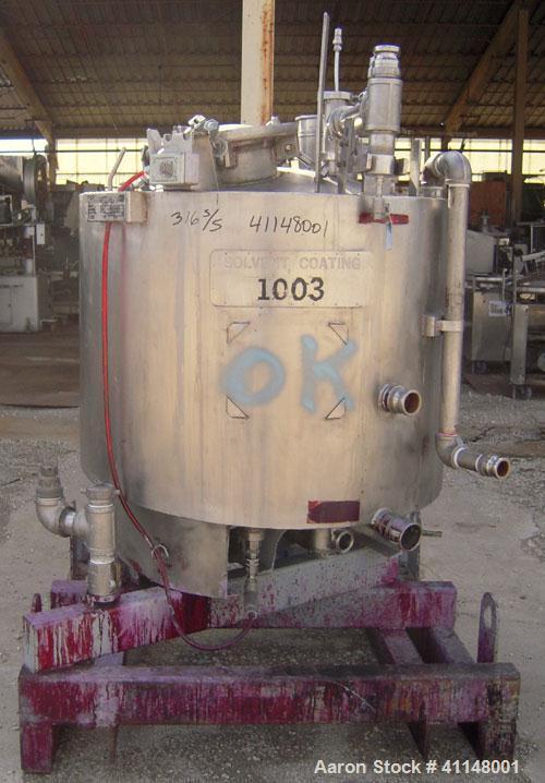 "Used- Eastman Kodak Reactor, 100 Gallon, 316L stainless steel, vertical. 34"" diameter x 29"" straight side. Dish top, sloped ..."