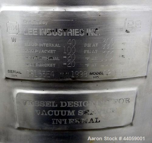 Used- 120 Liter Stainless Steel Lee Industries Reactor, Model 120LU