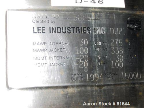 """USED: Lee reactor, 1000 gallon, model 1500U, 316L stainless steel, vertical. Approx 60"""" diameter x 8' straight side. Dished ..."""