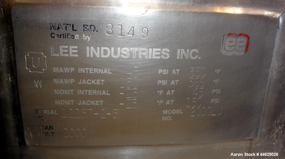 Used- 528 Gallon Stainless Steel Lee Industries Reactor, Model 2000LU
