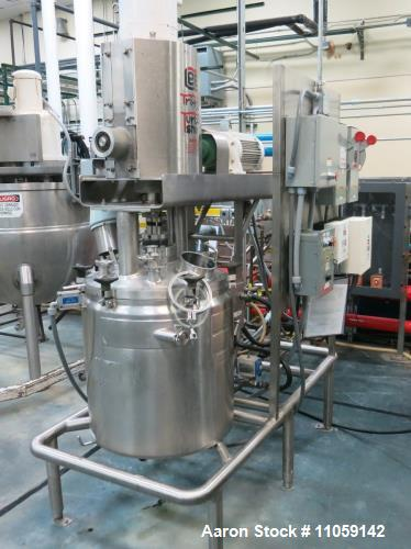 Used- Lee 25 Gallon Tri-Mix, Turbo-Shear Model 25D12T, Triple Motion, Jacketed, Vacuum Mix Kettle. Rated 15/FV internal and ...