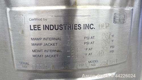 Used- 6.6 Gallon Stainless Steel Lee Industries Reactor, Model 25LDBT
