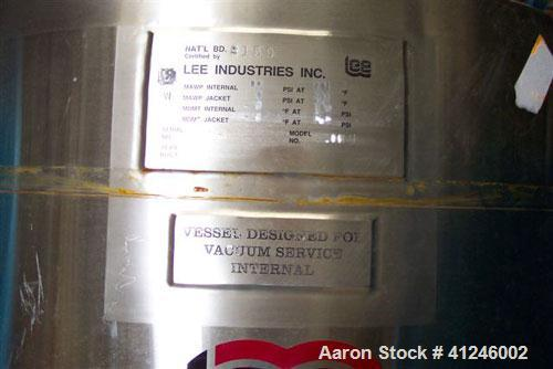 "Used- Lee Industries Reactor, 79 Gallon, Model 300LU, 316L Stainless Steel, Vertical. 26"" Diameter x 36"" straight side, dish..."