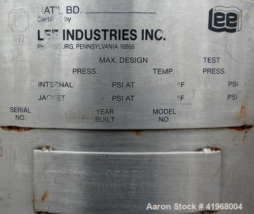 """Used- Lee Industries Reactor, 13.2 Gallon, Model 50LU, 316L Stainless Steel, Vertical. 18"""" diameter x 16"""" straight side, dis..."""