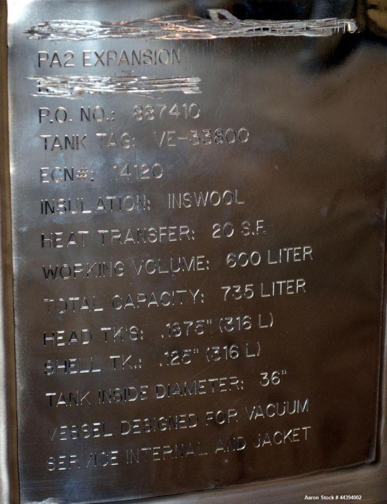 """Used- Lee Industries Reactor, 660 Liter (174 Gallon), Model 660LU, Electro polished 316L Stainless Steel, Vertical. 36"""" Diam..."""