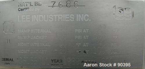 "Used- Lee Industries Reactor, 158 Gallon, Model 600 LU, 316L stainless steel, vertical.  32"" diameter x 39"" straight side. D..."