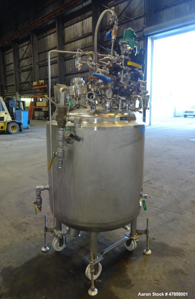 """Used- Letco Industries Reactor, 100 Gallon, 316L Stainless Steel, Vetical. 30"""" Diameter x 31"""" straight side, dished top & bo..."""