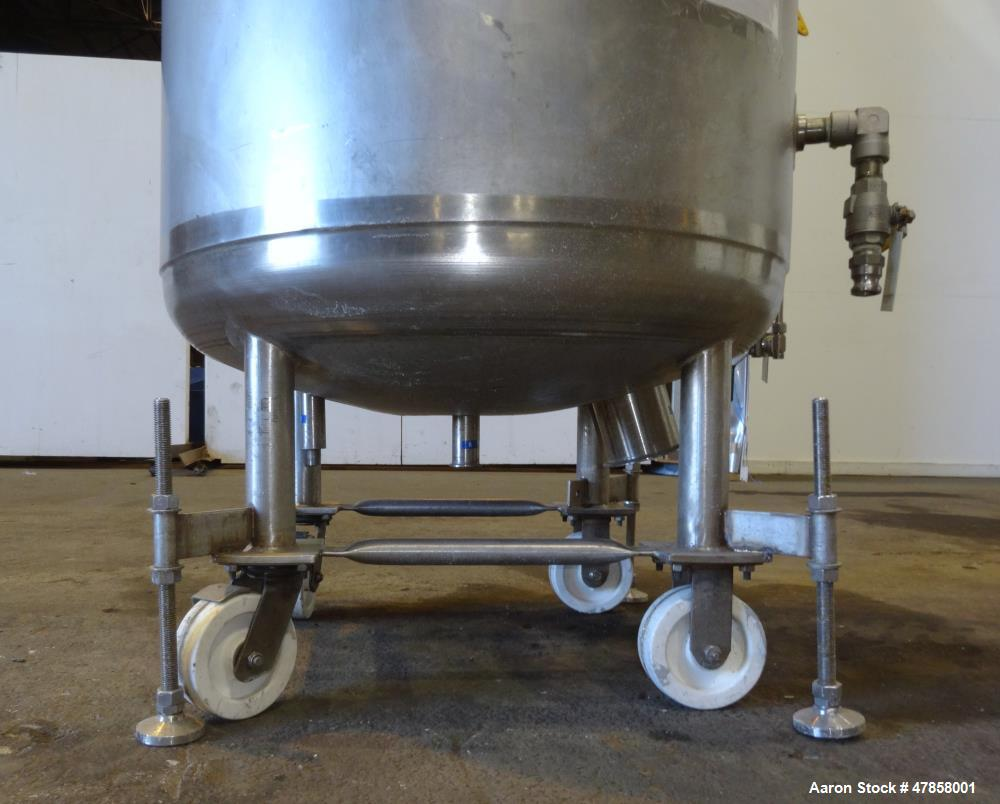 "Used- Letco Industries Reactor, 100 Gallon, 316L Stainless Steel, Vetical. 30"" Diameter x 31"" straight side, dished top & bo..."