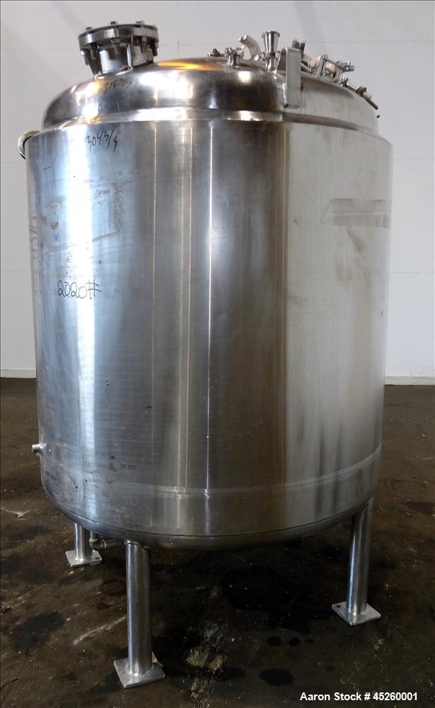 """Used- Letsch Reactor, 600 Gallon, 316L Stainless Steel, Vertical. 56"""" Diameter x 52"""" straight side, dished top and bottom. I..."""