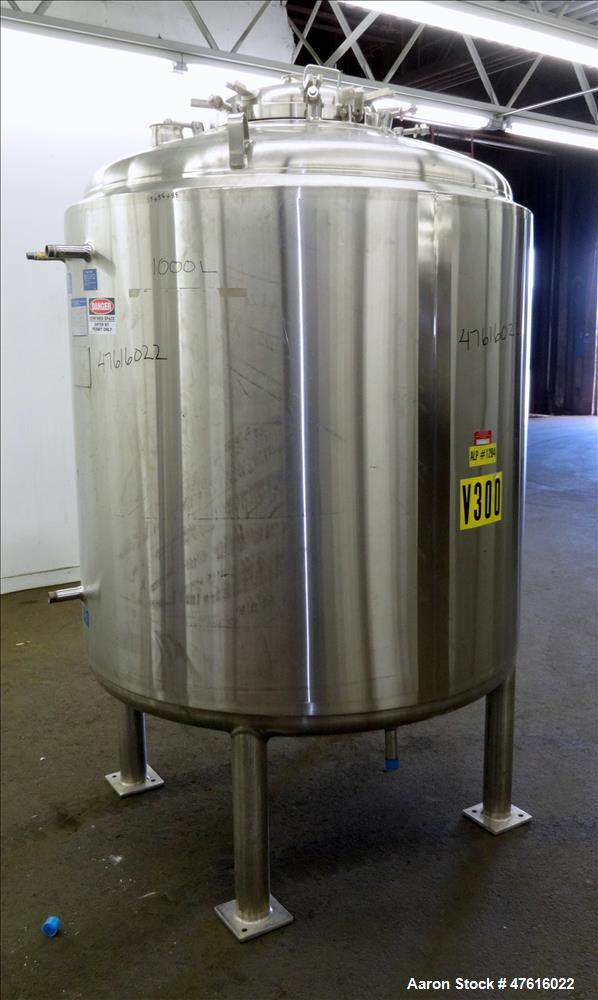 Used- Mueller Reactor, 1500 Liter (396 Gallon), 316L Stainless Steel, Vertical.