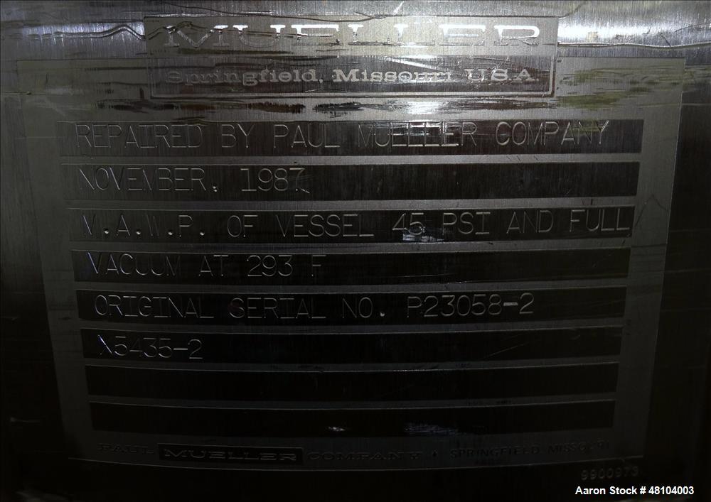 Used- Mueller Reactor, 240 Liter (63.4 Gallon), Model F, 316L Stainless Steel
