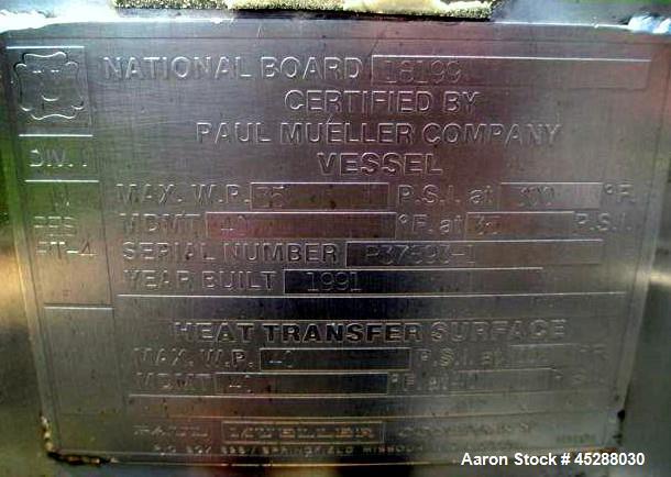"Used- 4000 Liter Mueller Jacketed Receiver, Model 4000 ""F"""