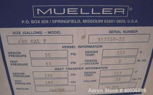 "Unused- Mueller Reactor, 430 Gallon, Model ""F"", 304L stainless steel, vertical. 48"" diameter x 47"" straight side, dished top..."