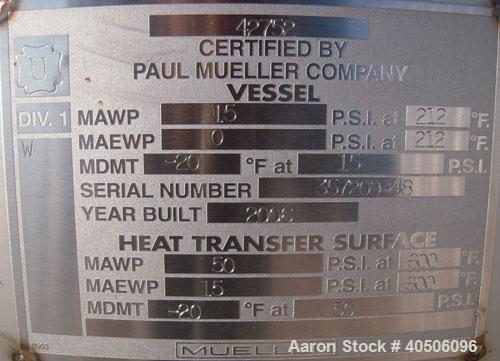 "Unused- Mueller Reactor, 400 Gallon, Model ""F"", 304L Stainless steel, Vertical. 48"" diameter x 47"" straight side, dished top..."
