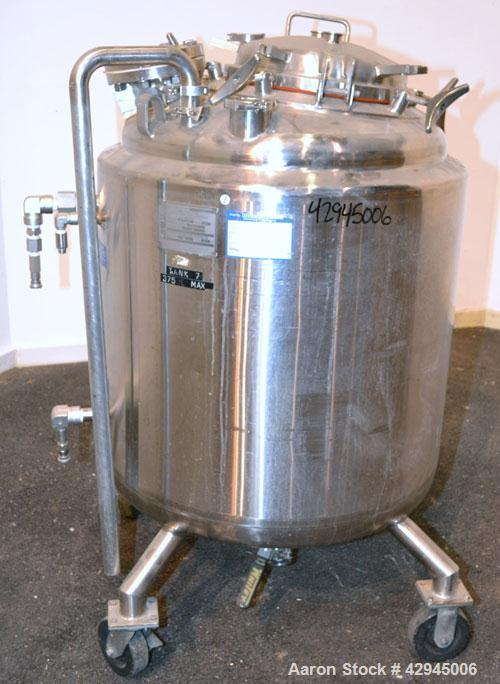 Used- Mueller Reactor, 79.2 Gallon (300 Liter), Model F, 316L Stainless Steel, Vertical. 30 Diameter x 28 straight side, dis...