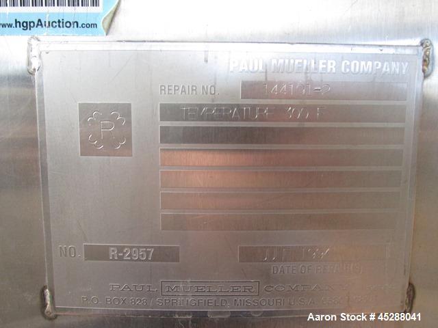 Used- 4000 Liter Mueller Stainless Steel Jacketed Tank