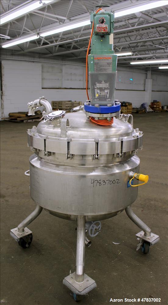 "Used- Mueller Reactor, 240 Liter (63 Gallon), Model F, 316L Stainless Steel, Vertical. 30"" Diameter x 18"" straight side, dis..."