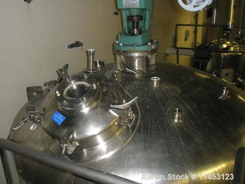 Used- Mueller Kettle, 8000 Liter (2113 Gallon), 316 stainless steel construction. 7' diameter x 8' straight side, dish top, ...