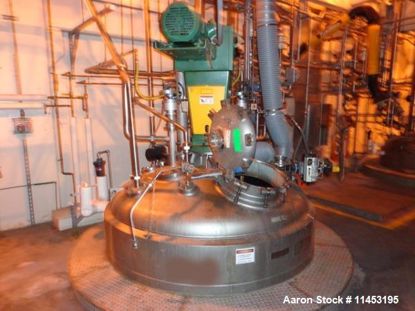 "Used-2000 Gallon Mueller Reactor.  316L Stainless steel construction, 75"" diameter x 10' 6"" straight side, dish top and bott..."