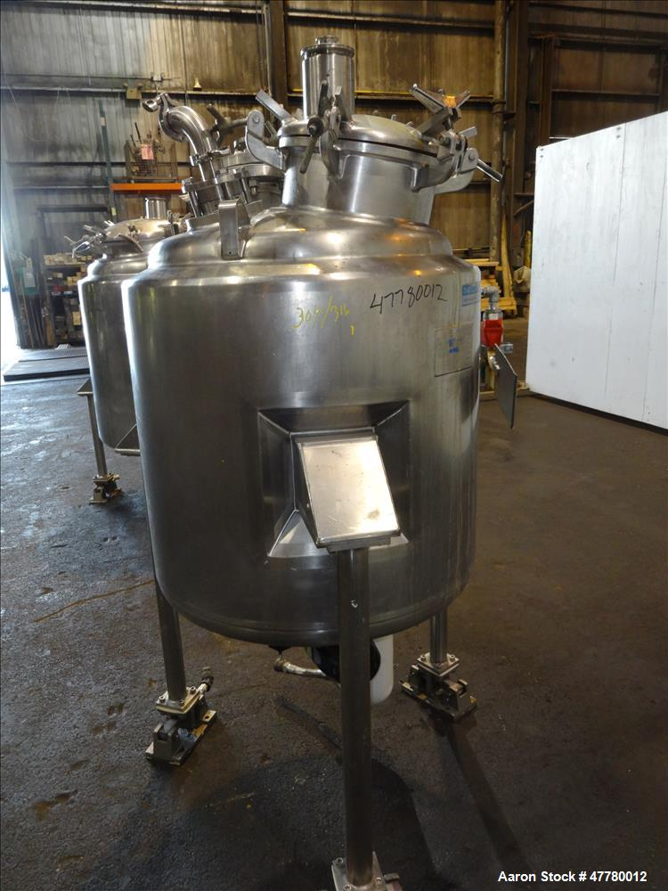 "Used- Mueller Reactor, 300 Liter (79 Gallon), 304 Stainless Steel, Vertical. 28"" Diameter x 30"" straight side, dished top & ..."