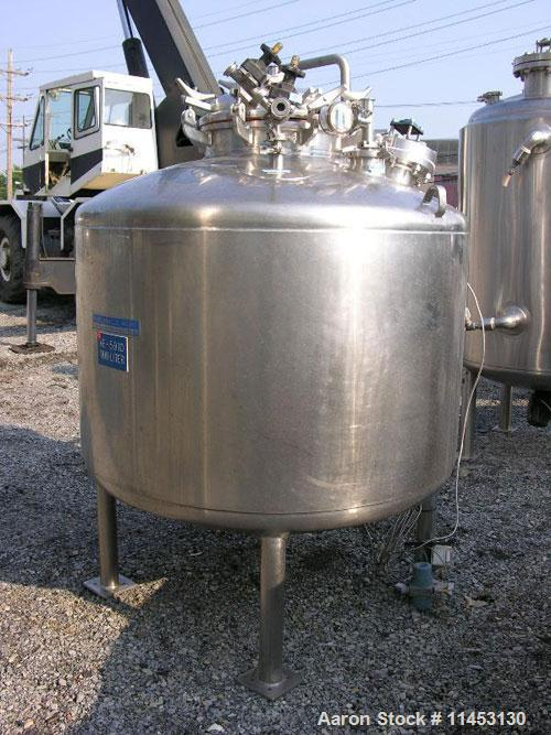 """Used-1100 Liter (290 Gallon) Mueller Reactor, stainless steel construction. 48"""" diameter x 30"""" straight side, dish top and b..."""