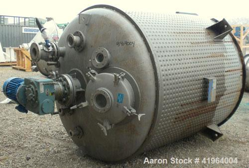 Used- Muller Reactor, 850 Gallon, Model F, 316 stainless steel, vertical. 72'' diameter x 60'' straight side, dished top and...