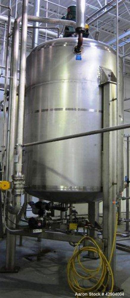 Used- Mueller 1500 Gallon 316SS Reactor. Internal Rated 35 psi/fv @ 200 deg f. Jacket 50 psi @ 200 deg f. Approx. 6' diamete...