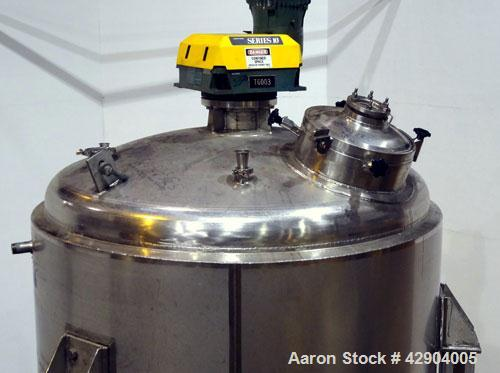 """Used- Mueller Reactor, 1500 Gallon, Model F, 316L Stainless Steel, Vertical. 68"""" Diameter x 84"""" straight side, dished top an..."""