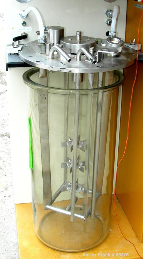 "Used- New Brunswick Microferm Lab Fermenter, 3.6 Gallon, Type MF-114. Glass vessel, approximately 8-1/4"" diameter x 17-1/2"" ..."