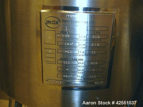 """Used- INOX Reactor, 10 Gallon, Stainless Steel. 12"""" Diameter x 11"""" straight side, removable dish top, cone bottom, rated 15 ..."""