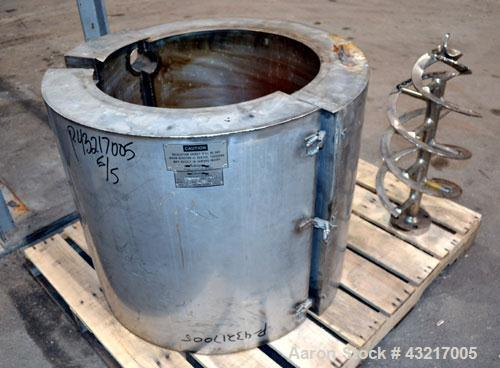 """Used- Fluitron Reactor, Approximate 20 Gallon, 316L Stainless Steel, Vertical. Approximate 16-1/4"""" diameter x 21"""" straight s..."""