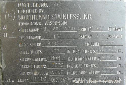 """Used- Northland Stainless Reactor, 300 Gallon, 316L stainless steel, vertical. 48"""" diameter x 36"""" straight side, dished top ..."""