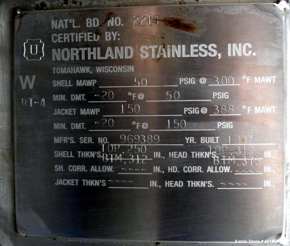"Used- Northland Stainless Reactor, 9000 Gallon, 316 Stainless Steel, Vertical. Approximate 120"" diameter x 174"" straight sid..."